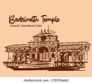 Badrinath the vishnu Temple Chamoli, Uttarakhand, India sketch to vector illustrator. char dham yatra