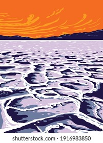 The Badwater Basin in Death Valley National Park Inyo County California United States of America WPA Poster Art