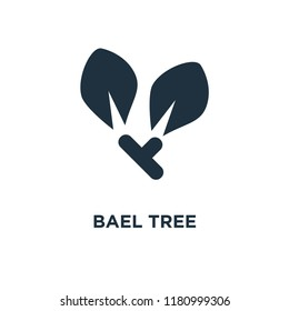 Bael tree icon. Black filled vector illustration. Bael tree symbol on white background. Can be used in web and mobile.