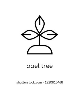 Bael tree icon. Trendy modern flat linear vector Bael tree icon on white background from thin line india collection, editable outline stroke vector illustration
