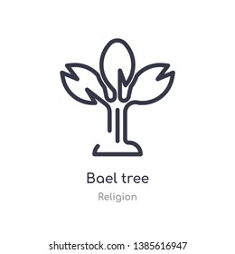 bael tree outline icon. isolated line vector illustration from religion collection. editable thin stroke bael tree icon on white background