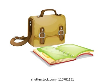 Bag and a book on white background
