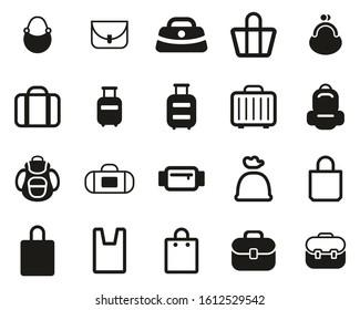 Bag Or Case Icons Black & White Set BIG