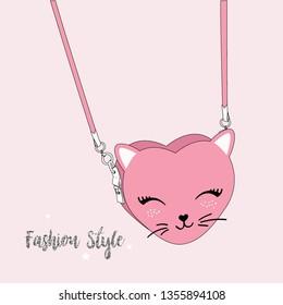 bag cat glitter text fashion style girl tee illustration art vector