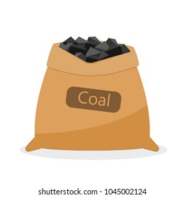 Bag with coal. Vector image isolated on white background