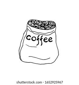 A bag of coffee grains.  Vector illustration. Isolated elements on white background. Black and white graphics.  Hand drawn.