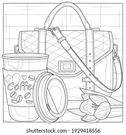 Bag and coffee.Coloring book antistress for children and adults. Illustration isolated on white background.Zen-tangle style.Hand draw - Shutterstock ID 1929418556