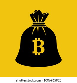 Bag coin bitcoin black icon. Silhouette mining crypto currency. Digital money. Vector illustration flat design. Isolated on white background. Virtual earning money pictogram.