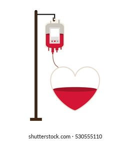 bag donate blood and heart shape