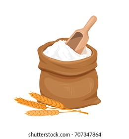 Bag of flour , shovel and ears of wheat. Vector illustration.