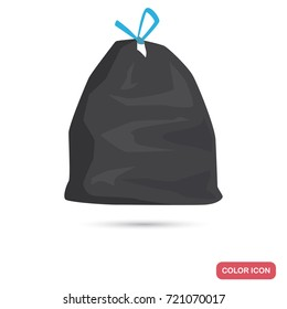 Bag with garbage color flat icon
