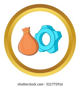 Bag and gear vector icon in golden circle, cartoon style isolated on white background