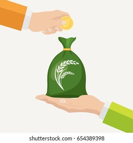 Bag with grain and money in hand. Buy wheat. Export, trade seeds. Sale crops. Agricultural income, agribusiness concept. Exchange deal. Vector illustration. Flat style design