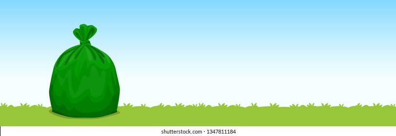 bag green plastic garbage on the grass blue sky background, garbage bags for waste, pollution plastic bag waste, 3r ad, waste plastic bags and copy space for banner advertising background