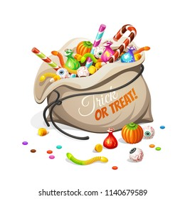 Bag of сolorful Halloween sweets for children: candy, chocolate, jelly isolated on white background.