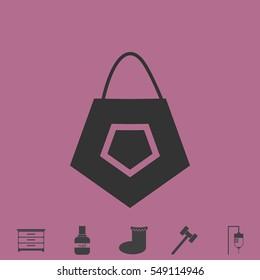 Bag icon flat. Simple vector grey pictogram and bonus symbol