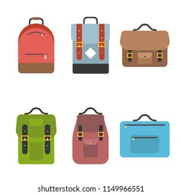Bag icon include briefcase, backpack, school bag , flat design