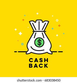 Bag icon with money in a flat style, cash back money bag with drawstring, color illustration, linear color pattern
