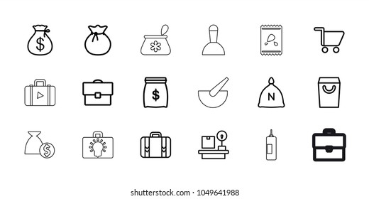 Bag icons. set of 18 editable outline bag icons: sack, money sack, lugagge weight, luggage, shopping cart, money sack, case, bulb