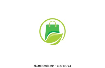 bag leaves recycle logo vector icon