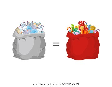 Bag with letters to Santa Claus and red big sack with gifts. Illustration for Christmas and New Year. Present in exchange for message