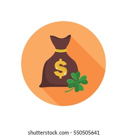 Bag with money and clover quatrefoil for luck color flat icon