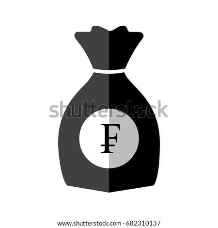 Bag Money Franc Logo Black White Stock Vector Royalty Free