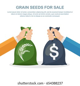Bag with money and grain in hand. Export, trade seeds. Buy wheat, cereal. Sale crops. Agricultural income, agribusiness concept. Exchange deal. Vector illustration. Flat style design