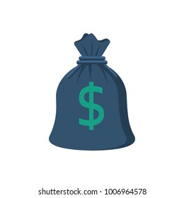 Bag of money isolated on white background. Vector illustration flat style. Icon for web design. American dollar sign. Symbol rich, affluence and success. Template for other objects.
