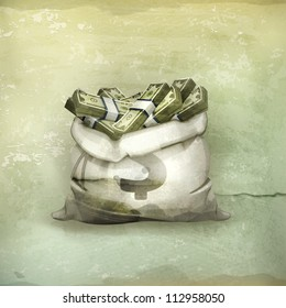 Bag of money, old-style vector