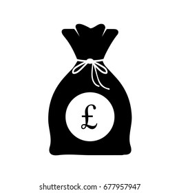 Bag of money with pound sterling logo in black and white icon, Pound sterling  currency isolated on white background