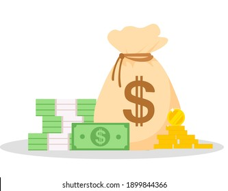 a bag of money and a stack of paper money on an isolated background in a cartoon flat style.a stack of dollar bills and round coins.cash on hand