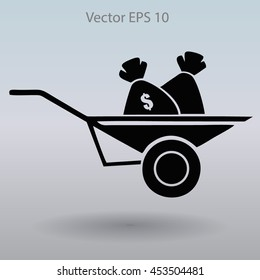 bag of money in a wheelbarrow vector illustration