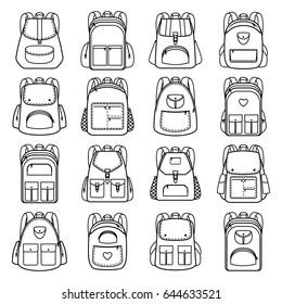 Lineare Symbole der Beutel-Packung. Rucksäcke für Reisen und Wandern, Schüler und Schulen