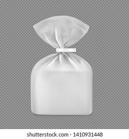 Bag package mockup. Transparent plastic bag with clip. Vector illustration Packaging template ready for your design, presentation, promo, adv. EPS10.