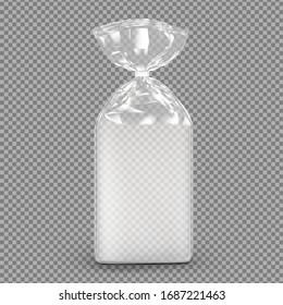 Bag package mockup. Transparent plastic bag with clip. Vector illustration on transparent background. Packaging template ready for your design, presentation, promo, adv. EPS10.