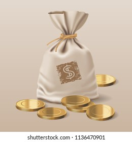 Bag with realistic golden coins vector illustration. Design element, clipart with sack full of metal money and a stack of coins