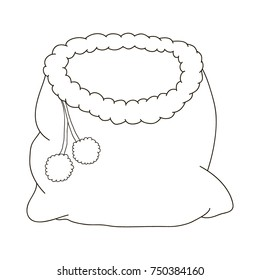 Bag of Santa Claus for a Christmas cartoon . Coloring pages . Coloring book for children
