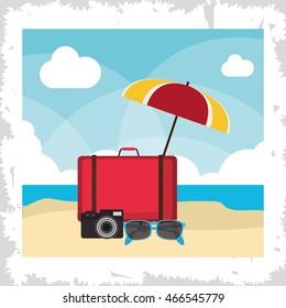 bag umbrella glasses camera summer holiday vacation icon. Colorful and flat illustration. Vector graphic