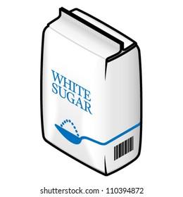 A bag of white / refined sugar.