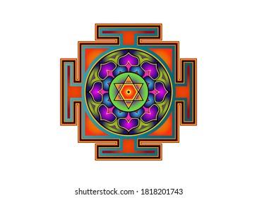 Bagalamukhi Yantra Mandala, colorful sacred Tibetan diagram the vital energy. Hinduism Bhuvaneshwari Yantra Prakriti, Dasa Mahavidya sacred geometry, divine bhupura lotus petals and 6 pointed star