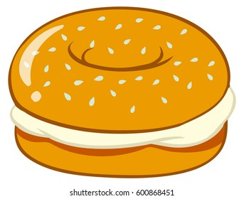 Bagel with cream cheese illustration