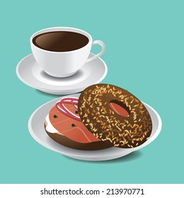 Bagel, cream cheese and lox (smoked salmon) Eps10 vector.