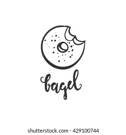 Bagel hand drawn illustration. Bagel logo. Bagel symbol. Bagel poster. Can be used for t-shirt, banner, card and other design projects.