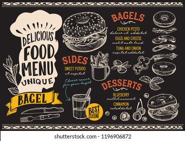 Bagel menu template for restaurant on chalkboard background vector illustration brochure for gourmet food and drink cafe. Design layout with vintage chefs hat lettering and doodle hand-drawn graphic.