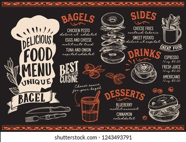 Bagel menu template for restaurant on a blackboard background vector illustration brochure for gourmet food and drink cafe. Design layout with chefs hat lettering and doodle hand-drawn graphic.