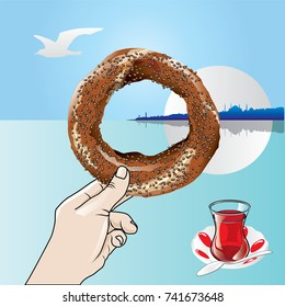 bagels and hand vector