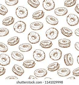 Bagels on white background. Seamless pattern for textile prints, gift wrap or wallpaper.