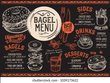 Bagels restaurant menu. Vector sandwich food flyer for bar and cafe. Design template with vintage hand-drawn illustrations.