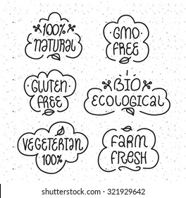 Bages or labels for your product design. Gmo free, gluten free, bio ecological, natural, vegeterian elements set. Hand drawn lettering.